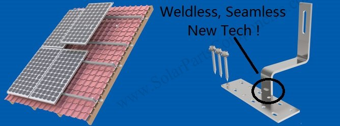 No Welding Solar Spanish Tile Roof Hooks, Base Adjustable, Side / Bottom Mounted