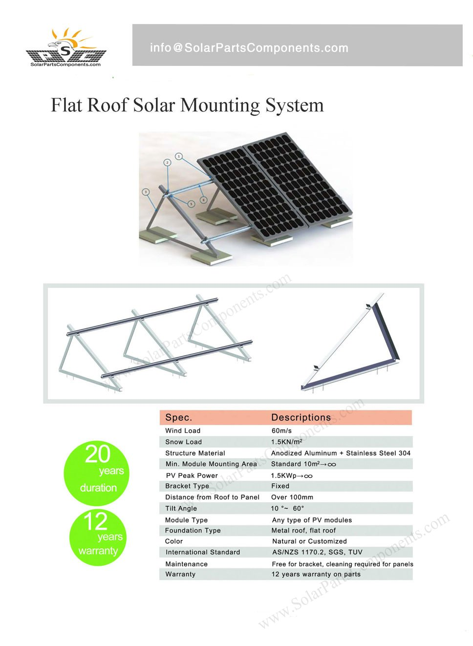 Solar Mounting System for Flat Roof Fixed Angle