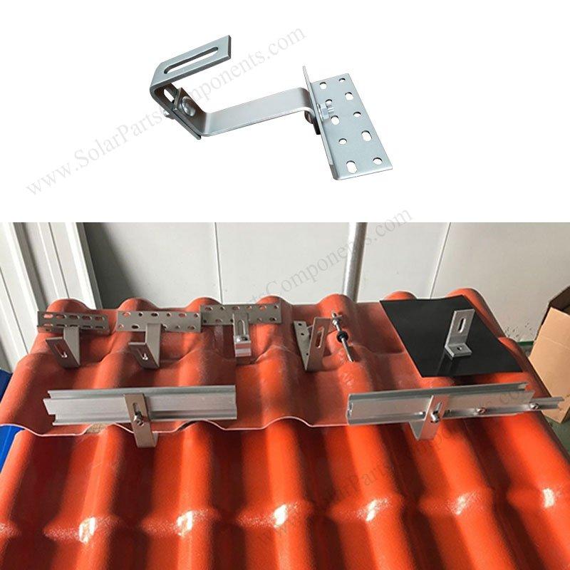 solar tile hook bracket, Double adjustable, Bottom Mounting