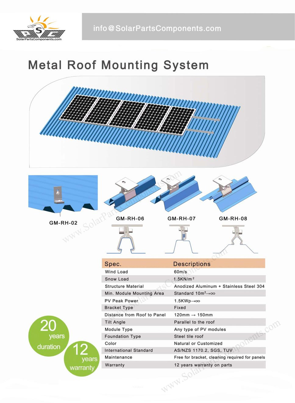 Metal Roof Mounting With Clamps