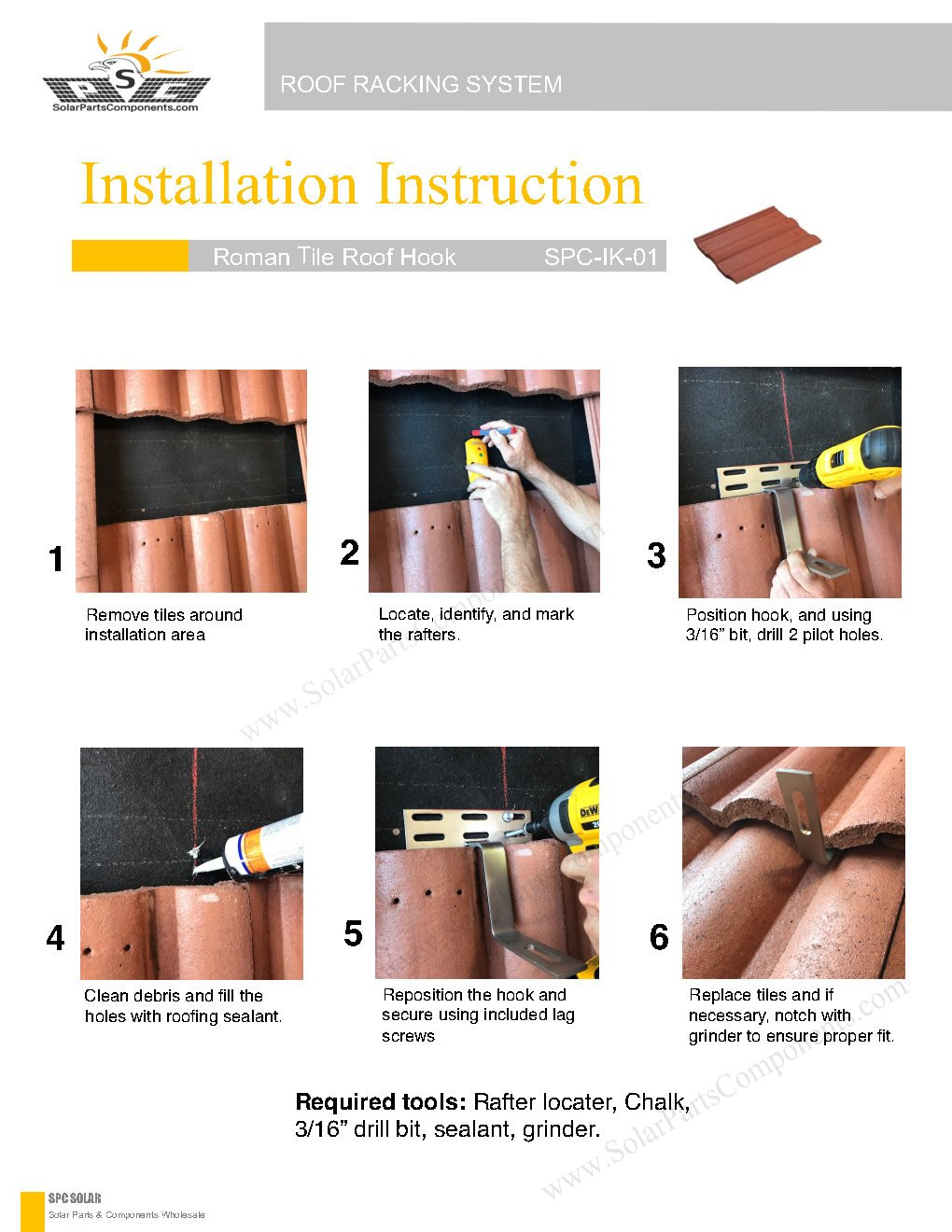 Installation Guide for Solar Roof Hooks Model : SPC-IK-01