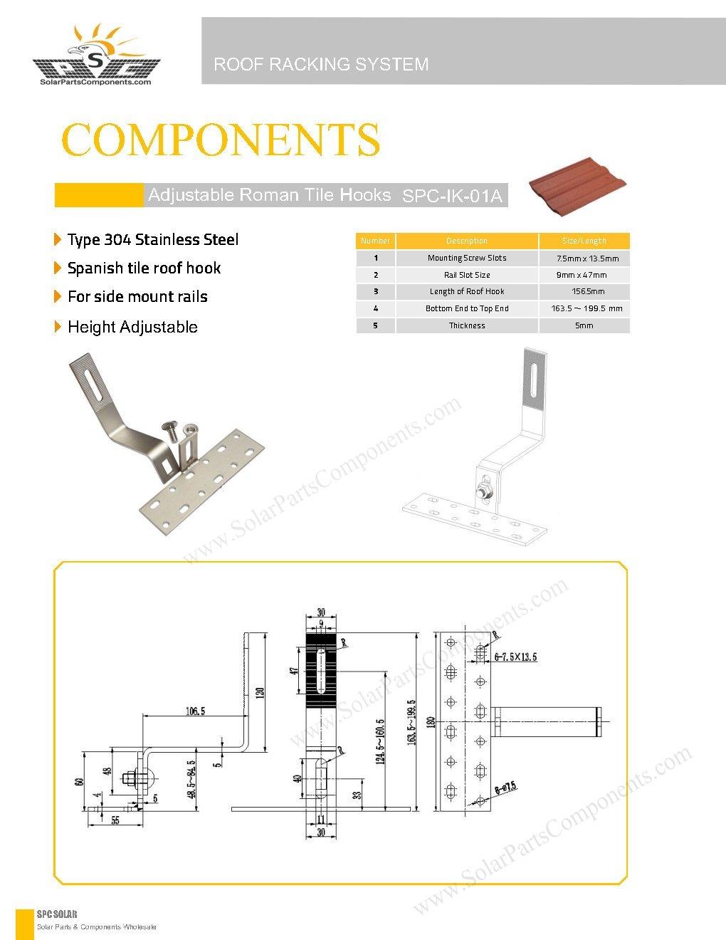 solar roof hooks, adjustable SPC-IK-01A