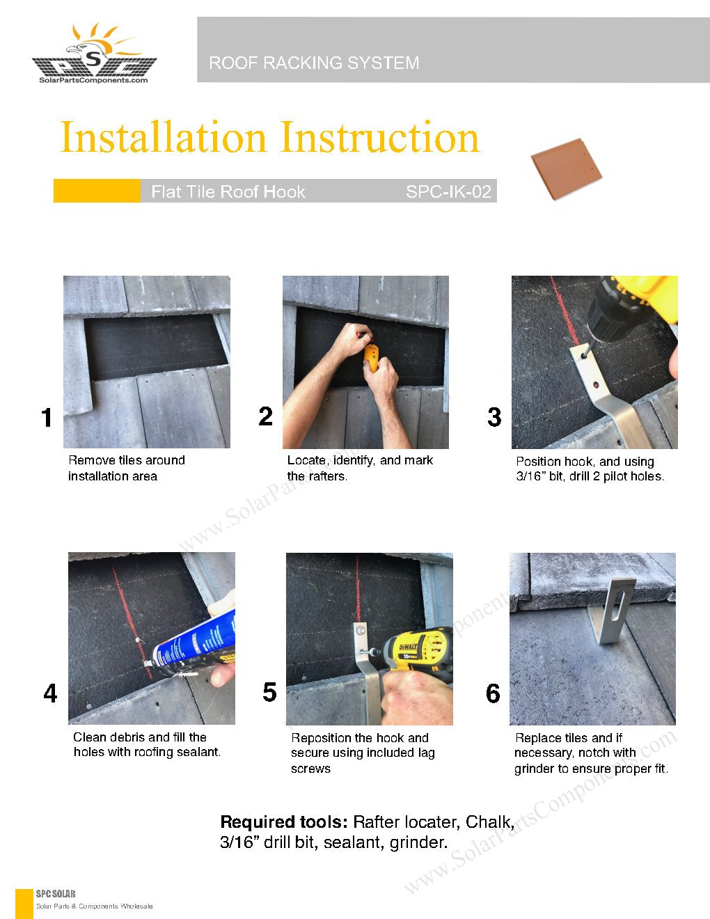Installation Guide for Solar Roof Hooks Model : SPC-IK-02