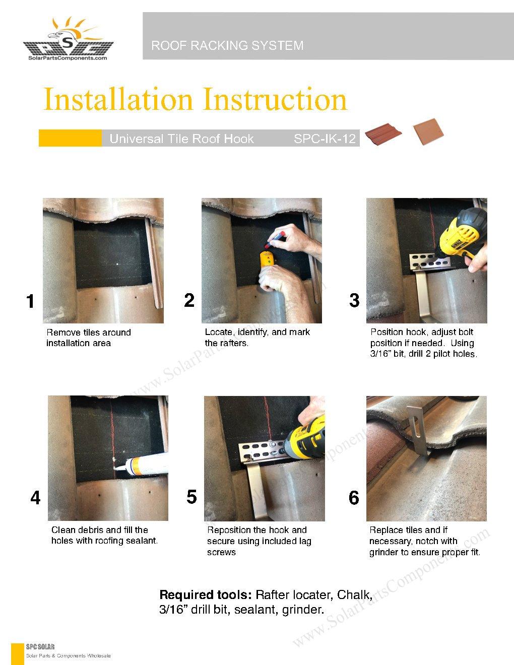 Installation Guide for Solar Roof Hooks Model : SPC-IK-12