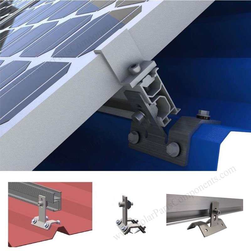 solar Trapezoid metal roof hook side installation