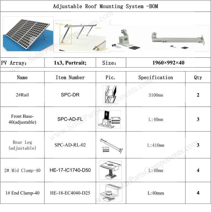 Adjustable Metal Roof Mounting Kits: 1x3 Solar Panels