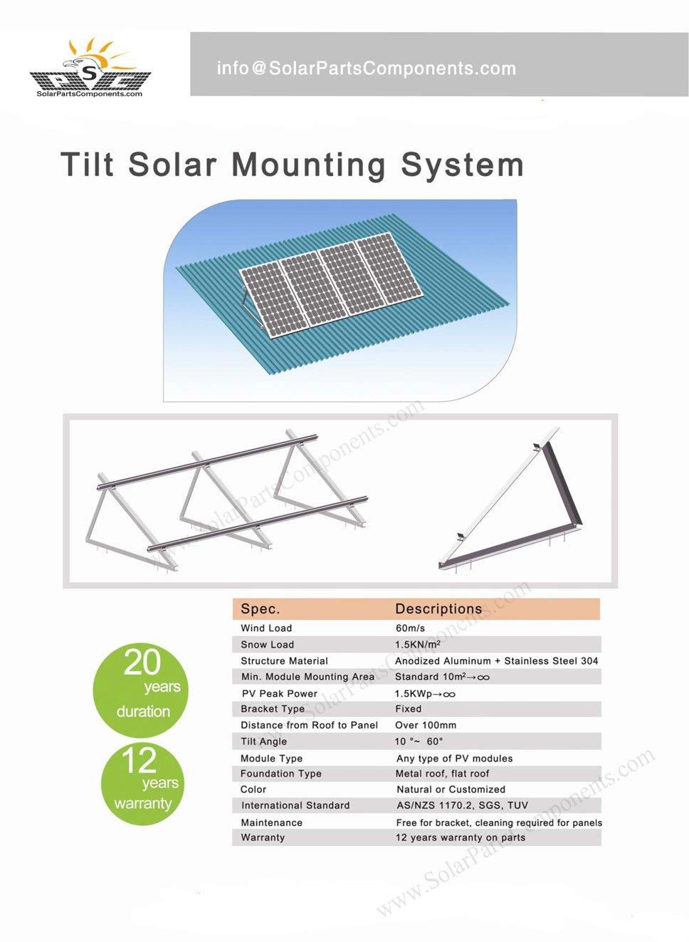 Tilt Adjustable Angle Solar Panel Roof Mounting System