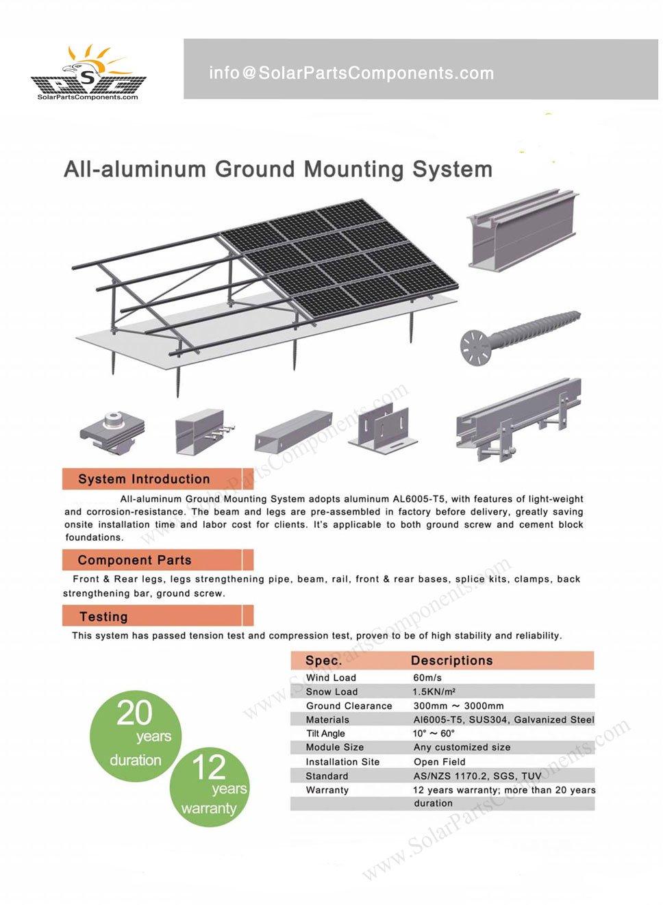 Ground Mounting System Aluminum Racking