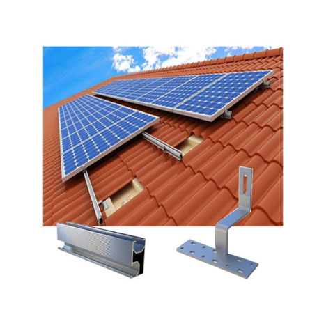 Solar Curved Tile Roof Mounting Systems with Side Mounted Hooks