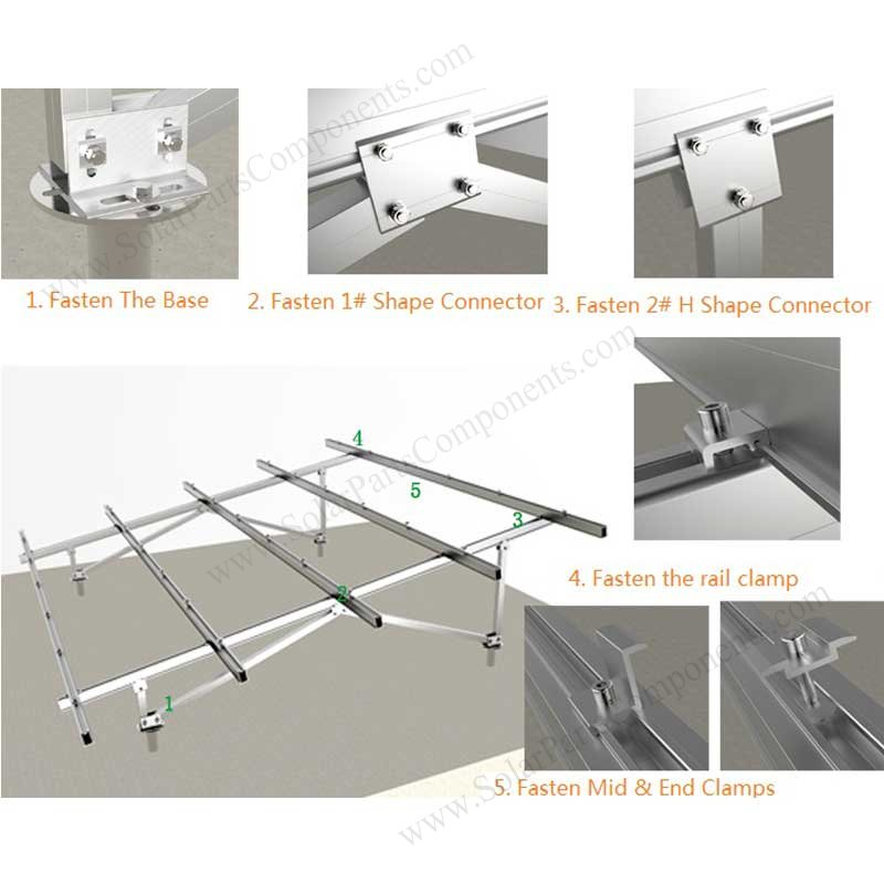 "solar ground mounting system ""N"" type with screws installation"