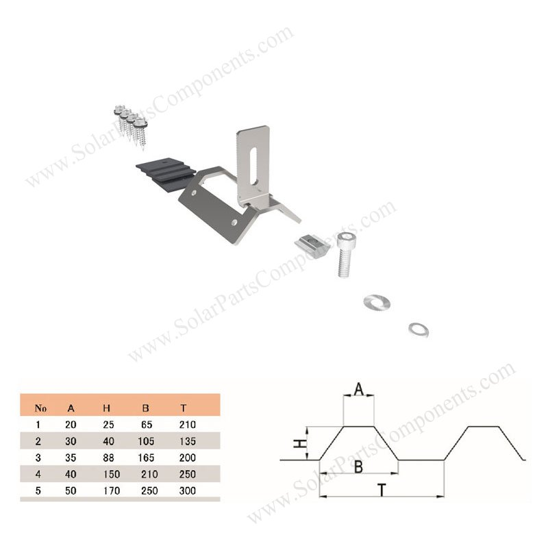Solar Mounting Systems For Trapezoid Metal Zinc Tin