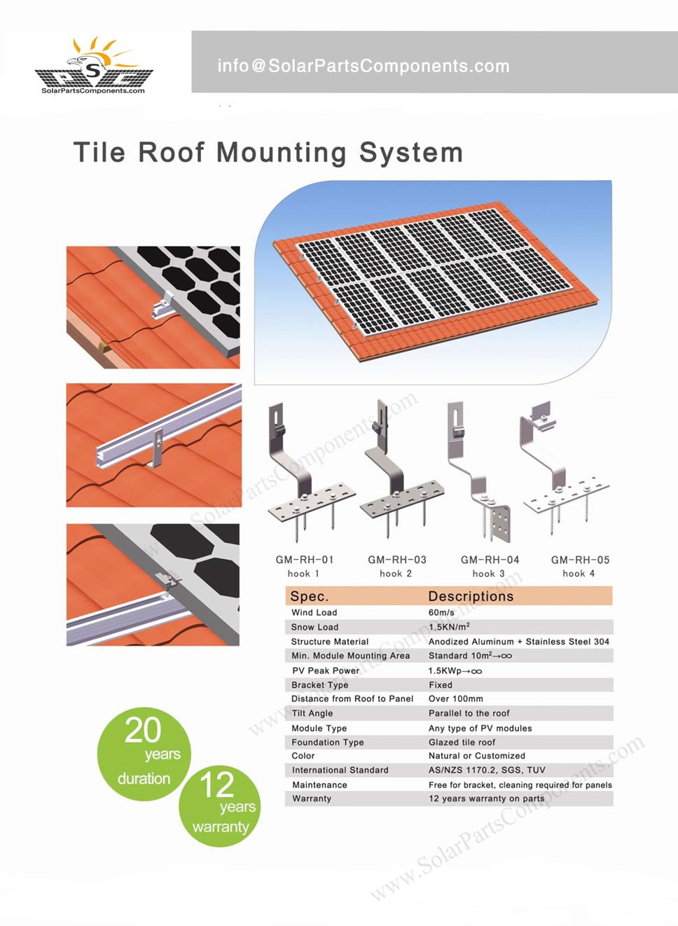 Solar Panel Tile Roof Mounting System