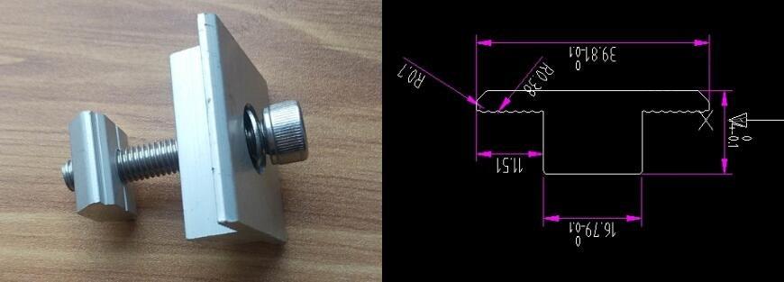 35 mm ( 1.37 inch ) T Shape Mid Clamp for framed solar panels
