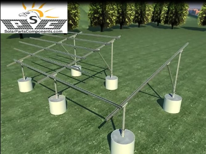 Concrete base solar panel ground mounting structure, adjustable