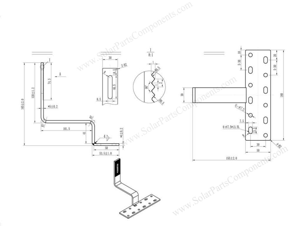 side mounted curved tile roof hooks drawing