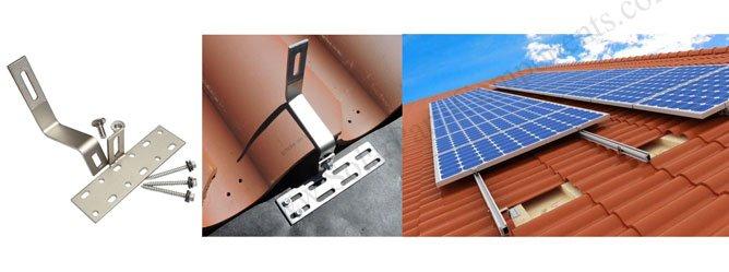 solar Roman tile roof hooks side mounted drawing
