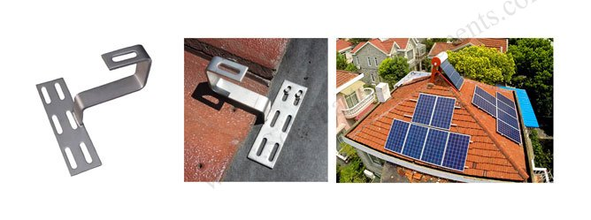 solar Roman tile roof hooks bottom mount drawing