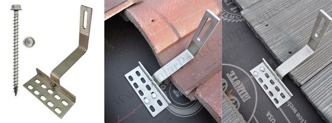 Solar Side Mounted Tile Roof Hooks Adjustable
