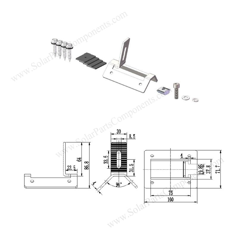 trapezoid metal roof side mount clamp drawing