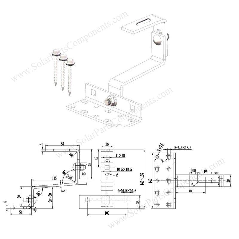 Solar Universal Tile Hook Double Adjustable Bottom Mounted Drawing