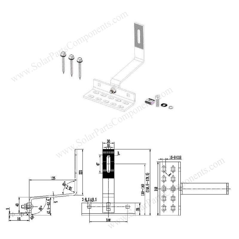 solar curved / flat tile roof hooks, adjustable, side mounted details