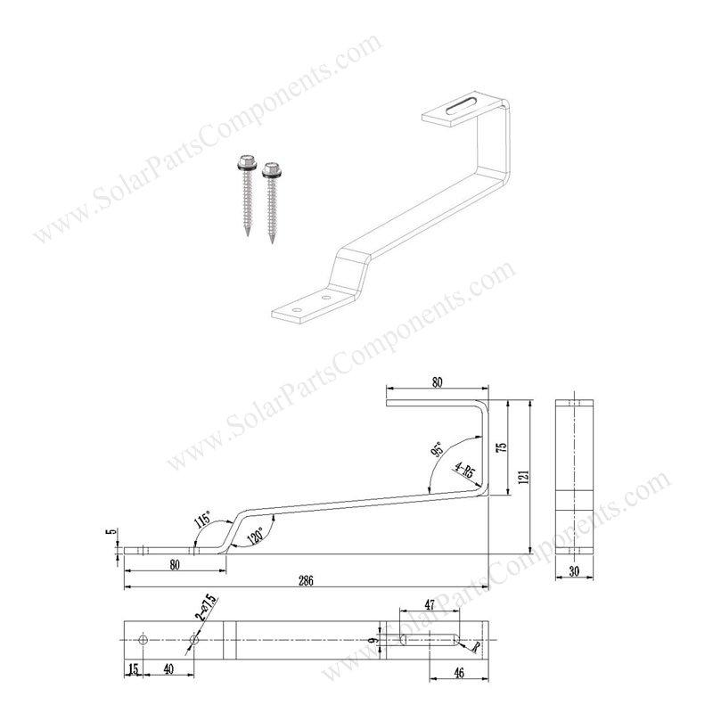 flat tile roof PV module mounting hooks sizes