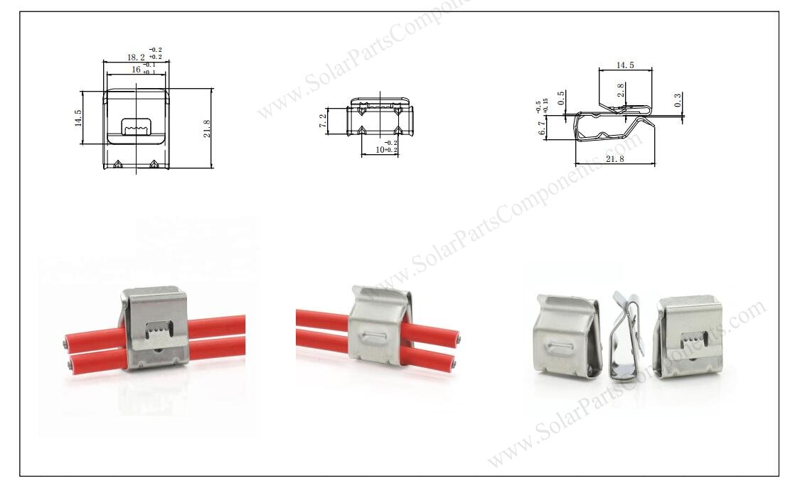 2 lines solar cable clips