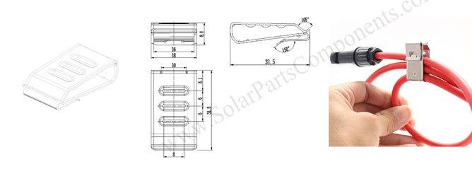 Three lines pv module wire clip size