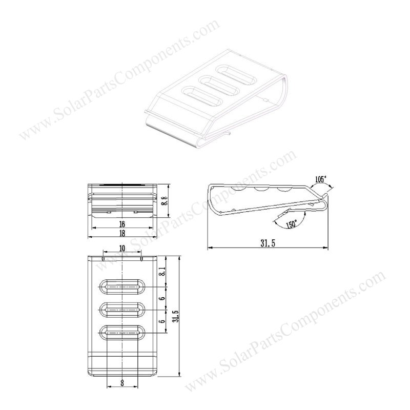 3 lines solar panel cable clips drawing