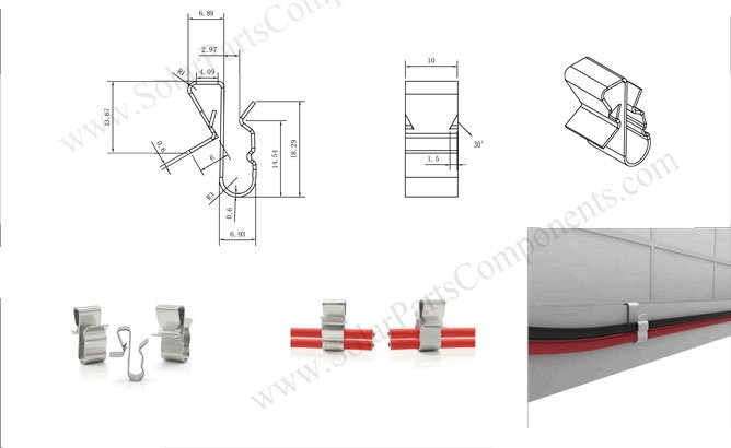 solar cable clips, two line, narrower