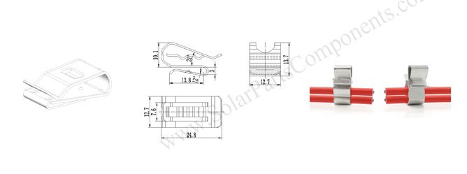 Two lines solar panel cable clips drawing