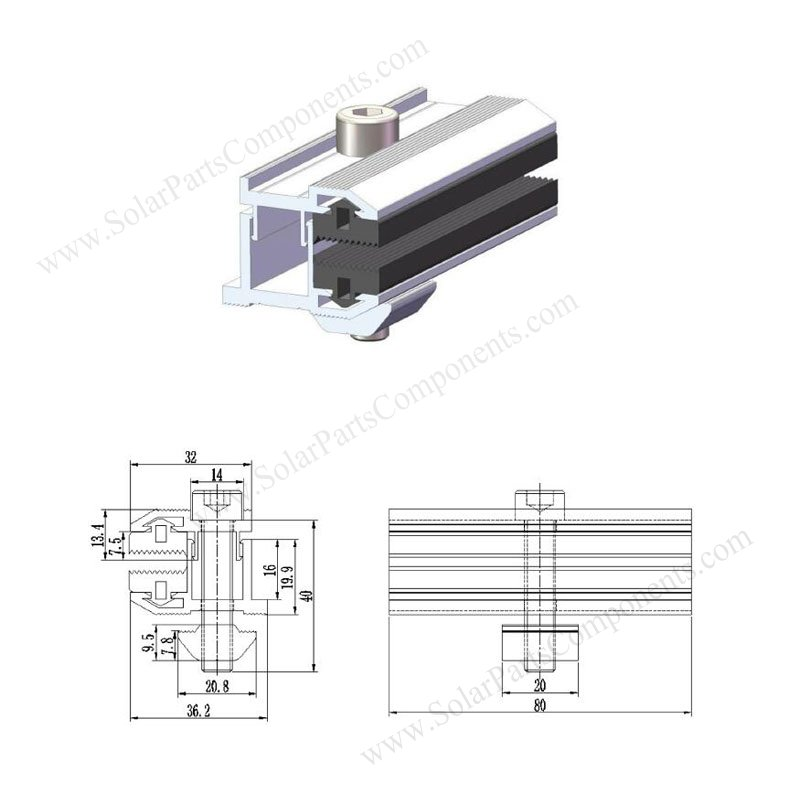 end clamps profile for frameless solar panels