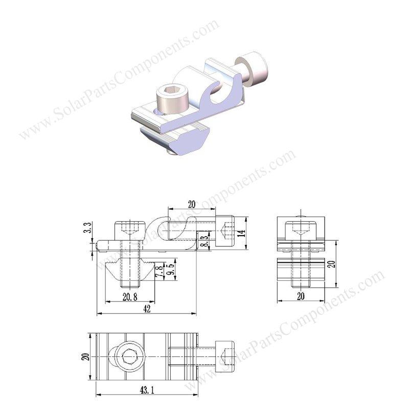solar earthing lug drawing