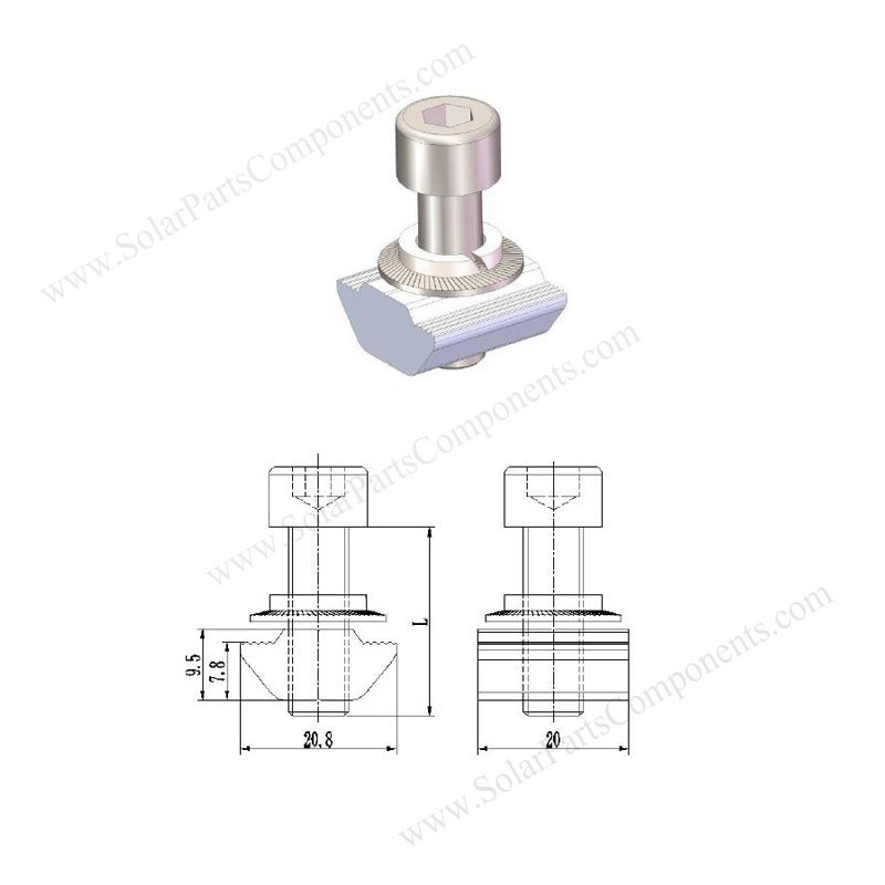 solar T-slot nut kit for rail installation