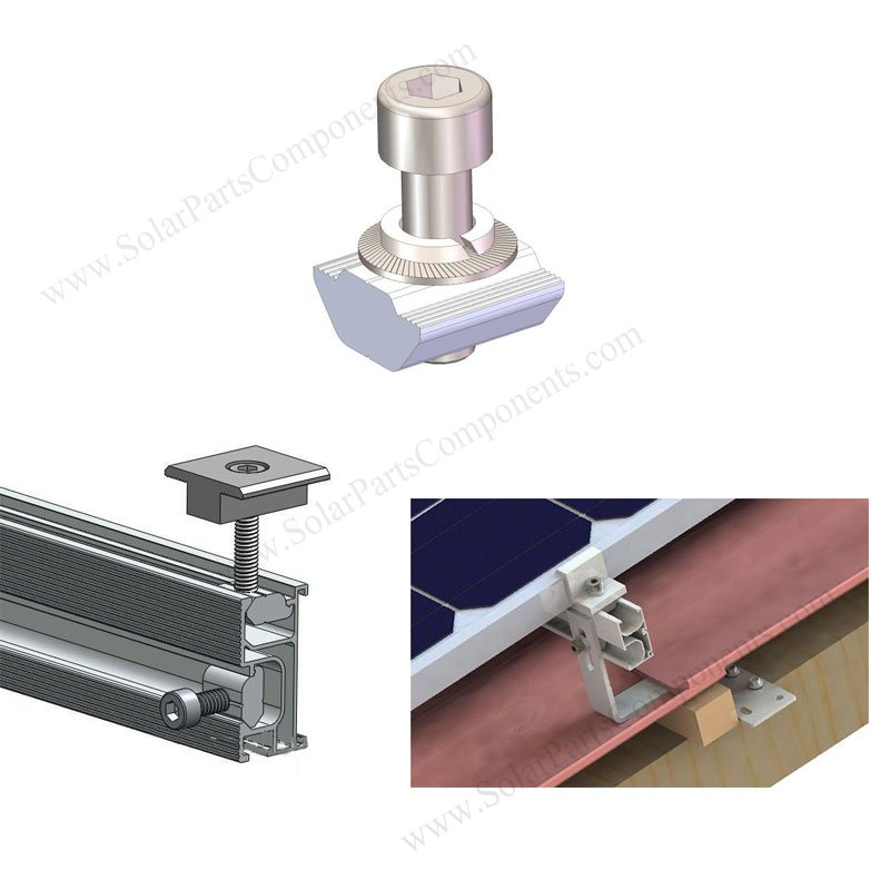 Aluminum Sliding Nut Kit For Solar Panel Rail Mounting