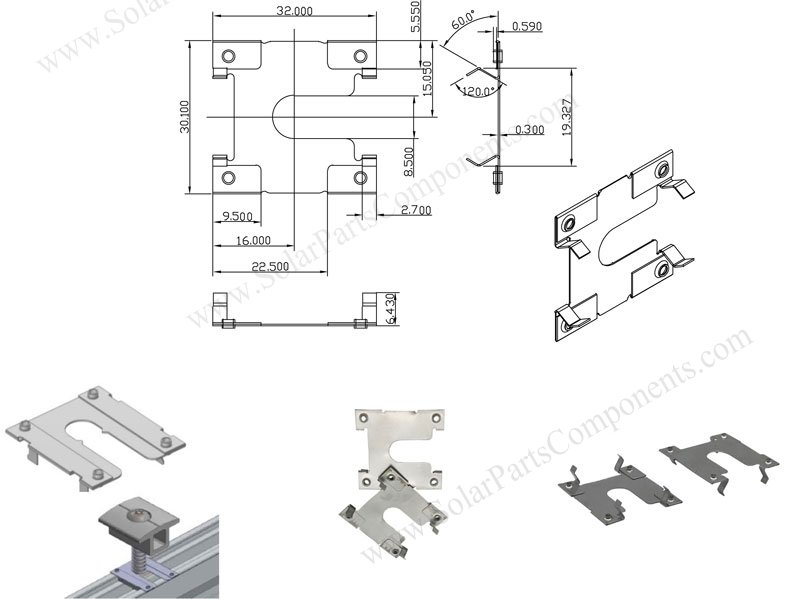 grounding plate clips model 1A, Size & drawing