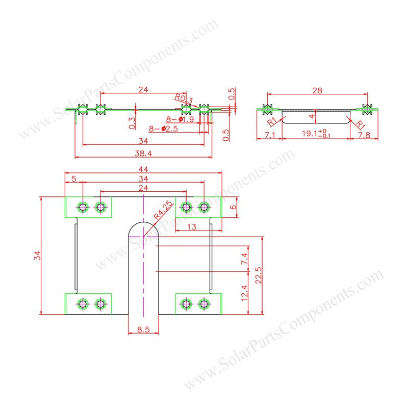 Solar Panel Grounding Plate 5E Drawing & sizes