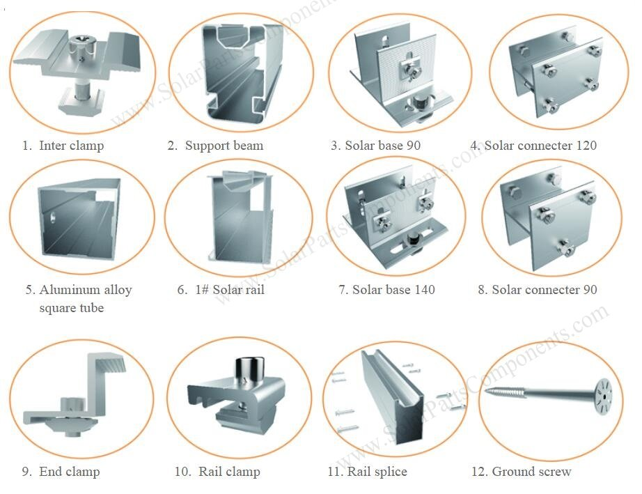 Solar ground mounting system N type components