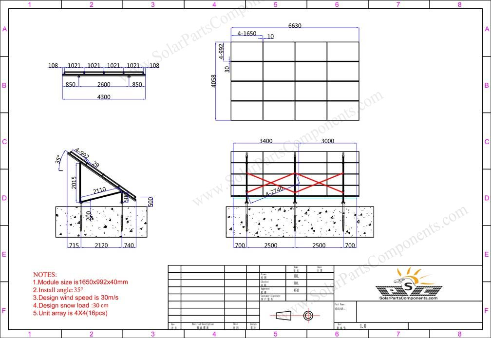 Solar panel ground mounting 4X4X6