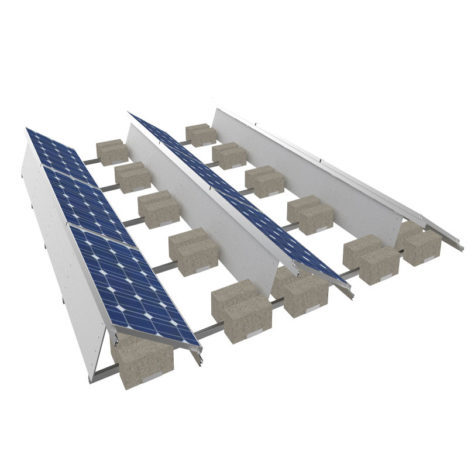 ballasted flat roof solar mounting structure