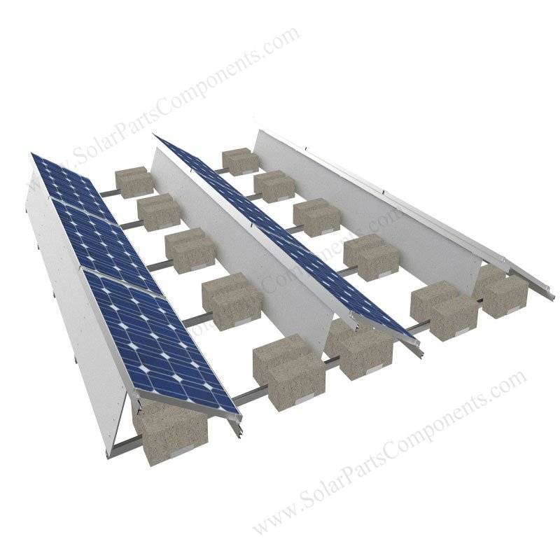 Flat Roofing Solar Panel Mounts Ballasted Aluminum Racking