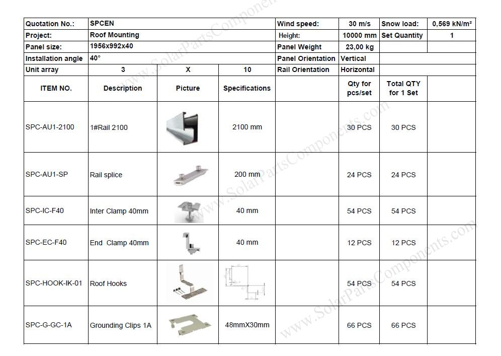 BOM of solar panel roof racking project