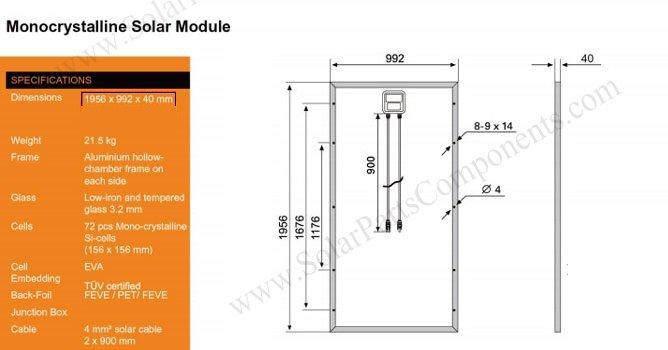Mono crystalline PV module size
