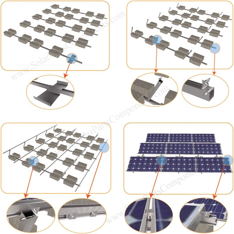flat roof ballasted solar racking project installation