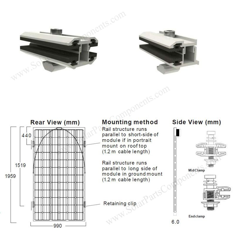 Frameless Pv Module Mid Clamps And End Clamps For Thin