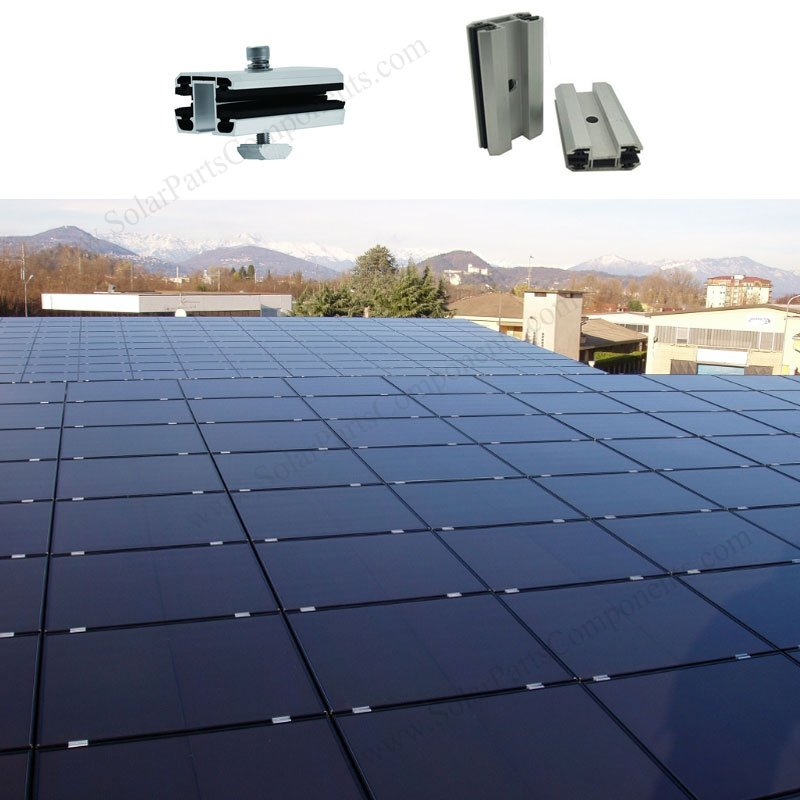 Thin film solar panel mounting clamps
