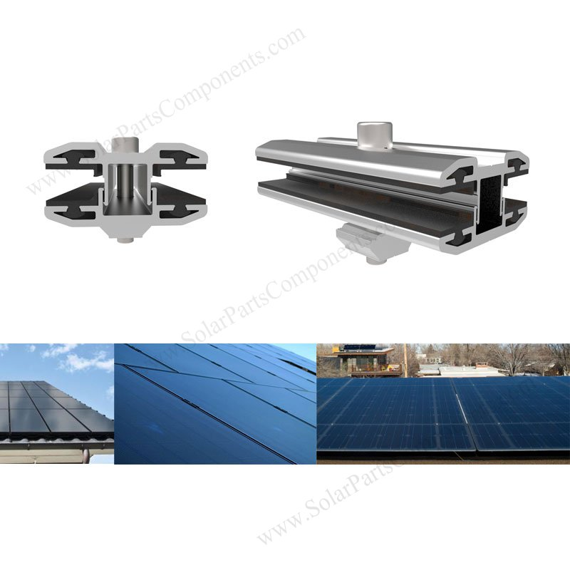 Frameless PV module mounting with inter & exterior clamps on
