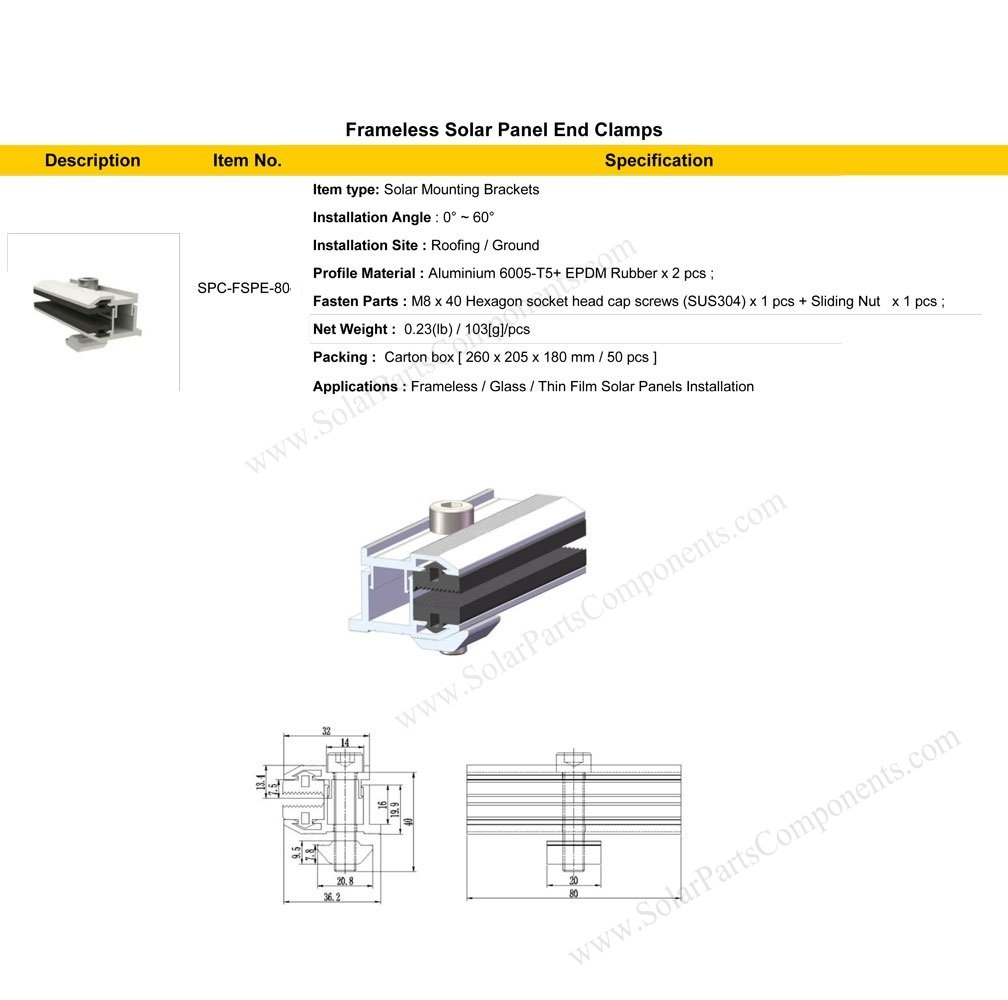Frameless solar panel mounting solution exterior clamps