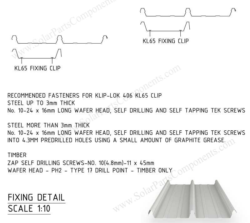 klip lok 406 / 700 clamp Lysaght profile