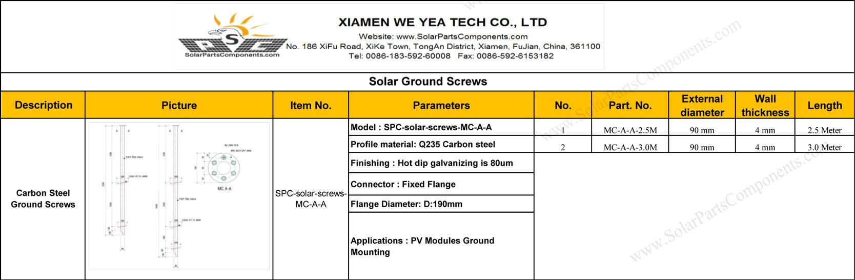 solar ground screw customized prices